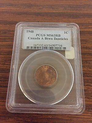 1948 Canada PCGS MS 63 RB A Btwn Denticles Penny