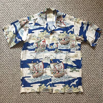 Vintage Vtg 1940s 40s Rare Japanese Pattern Style Short Sleeves Hawaiian Shirt