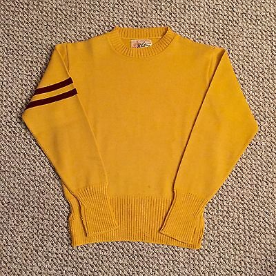 Vintage Vtg 50s Whiting Los Angeles Letterman Sweater Mens Wool Yellow Rare