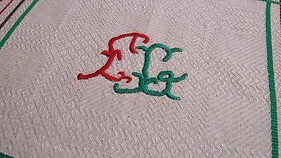 rare rustic ecru napkin tablecloth with red and green border