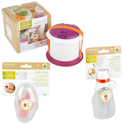 Infantino Fresh Squeezed Mighty Mill Food Press-Food Pouch & Spoon Set