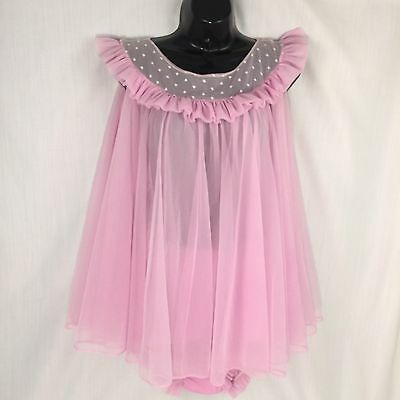 Vintage Babydoll Pajamas Lingerie Two Piece Set Pink Sexy Sheer Pinup Style