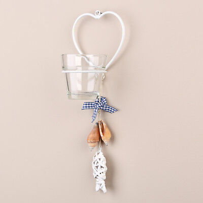 Tobs Tea Light Candle Holder / Sconce - Wall Hanging Glass - Single White Heart