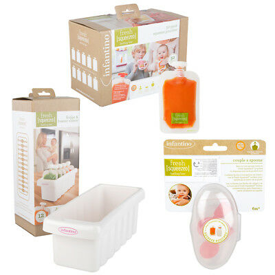 Infantino Fresh Squeezed Fridge Freezer Tray, 50 x Pouches & 2 x Spoon