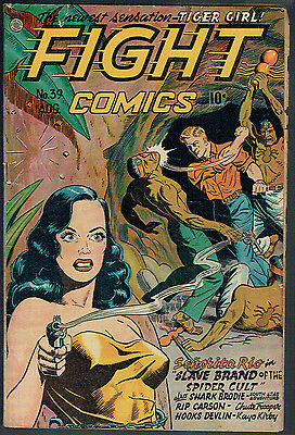 FIGHT COMICS  39  VG/4.0  -  Classic GGA smoking gun cover!