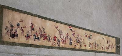 Marks Old Chinese Very Long Scroll Painting Character Monster fighting theme Map