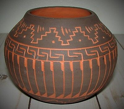 Vintage Native American Navajo Terra Cotta Etched Pottery Bowl  Signed J Wahm