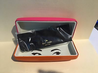 Kate Spade Clam shell Pink and Orange Sunglasses Case NWOT w/ cleaning cloth