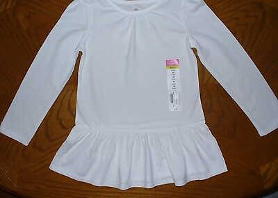 NWT Girls White Cotton Jersey L/S Ruffle Hem Tunic Top Toddler Kids 2T 3T 4T 5T