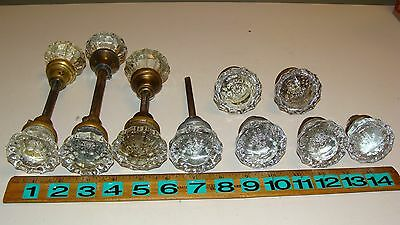 Lot of 12 Antique Vintage Clear Glass 12 Point Doorknobs