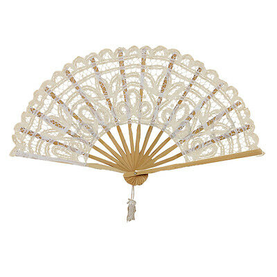 Vintage Lady Handmade Lace Hand Fan Bridal Wedding Party Decoration, Lvory L1M9