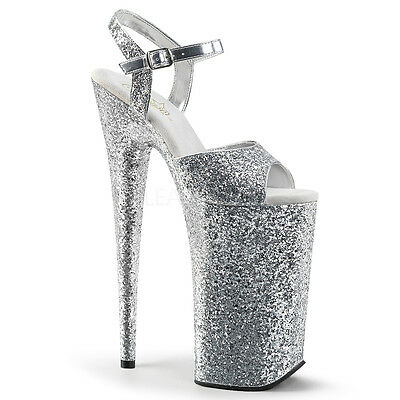 """PLEASER BEY010LG/SG/M 10"""" Heel Sexy Exotic Extreme Platform Silver Glitter Shoes"""