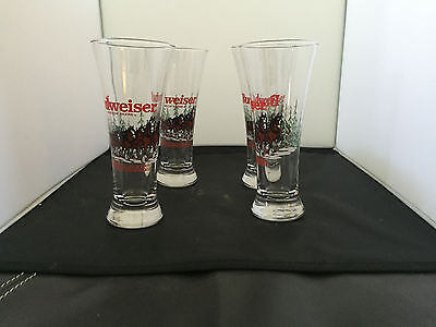 Set Of 4 Budweiser Clyddesdale Horse Beer Glasses