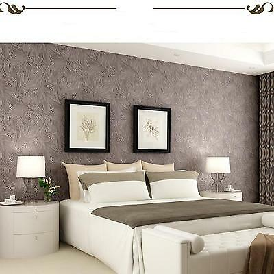 10M Roll Flocking Wave Home Renovation Project Wall Paper Wallpaper Light Brown