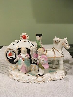 Vintage 1950s Horse and Carriage- Hand Painted Made in Japan EUC