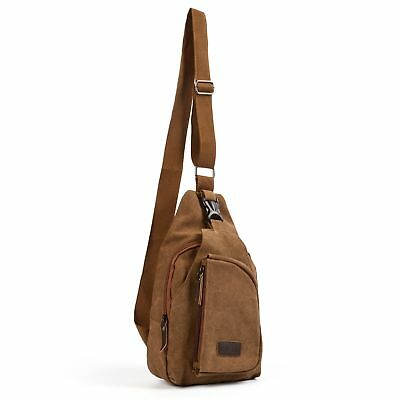 Men Chest Bag Canvas Messenger Tactical Coffee Shoulder Cross Body Travel Hiking