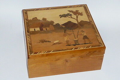 Inlaid Wood Chest Chest Casket Wooden Box Jewelry Chest Sewing Box Case