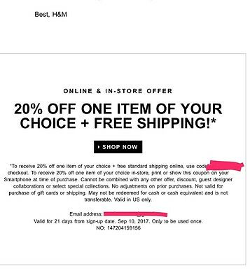 H&M  20%off and free shipping