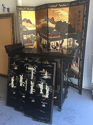antique Chinese Furniture - black lacquer with mother of pearl and gold leaf