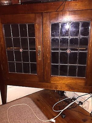 Antique blackwood leadlight corner cupboard