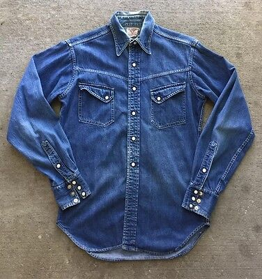 Original Vtg LEVI's Sanforized Short Horn Denim Western Shirt 40s 50s XX era