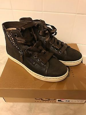 e26a8475076 UGG AUSTRALIA BLANEY CRYSTAL Chocolate Embellished Sneakers Size 8.5 ...