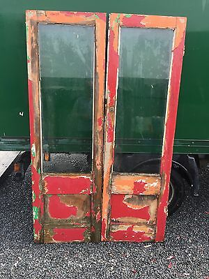 Reclaimed glazed french doors Glass Vintage Antique Pine Pair Double Matching