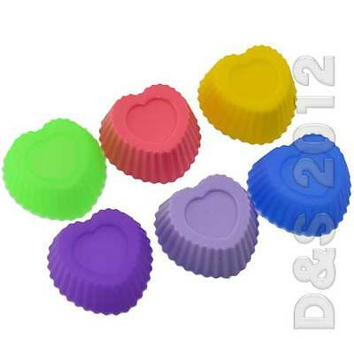 NEW Silicone Heart Shape Soap Chocolate Mould Muffin Cup Cake Baking Mould 10pcs