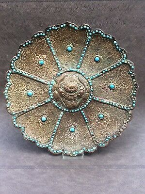 Antique chinese Tibetan plate charger with Dramapala design and turquoise stones