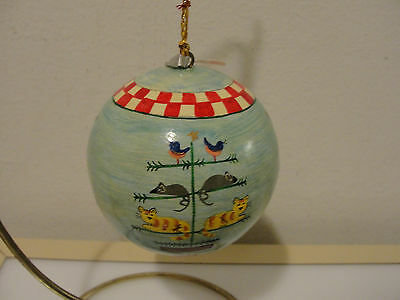 """Foreside hand painted lacquer round Christmas tree ornament cats mice birds 3"""""""