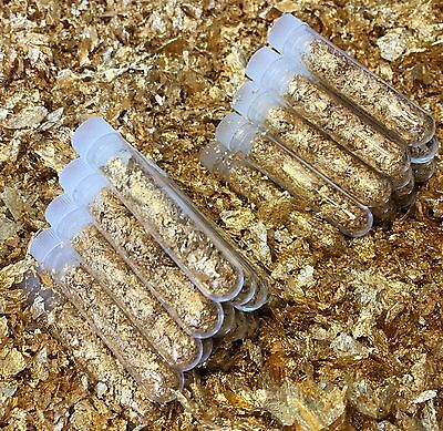 6 Large 3ml Vials.. Filled Full of Gold Leaf Flakes .. Lowest price on Ebay !!