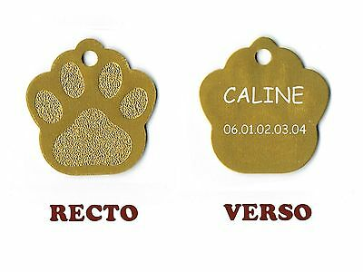 medaille animaux gravee chien ou chat - modele grande patte de chat caline - or