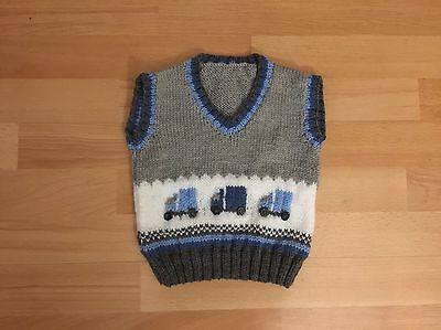 New Hand Knitted Boys Grey Tank Top With Blue Lorries Size 2-3 Years