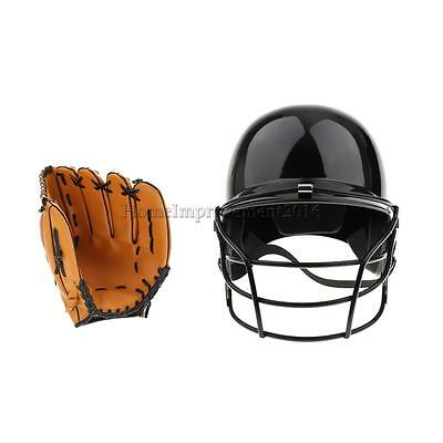 Professional Batting Helmet with Face Guard + Left Hand Baseball Glove 10.5""