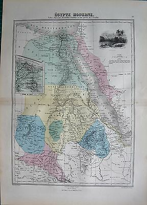 1883 Antique Map- Africa- Egypte Moderne, Nubia,abyssinia