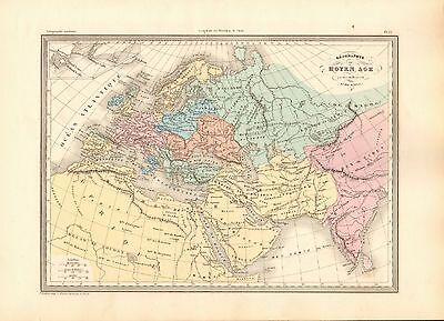 1880 Ca ANTIQUE MAP- MALTE-BRUN- GEOGRAPHY OF THE MIDDLE AGES, 9th CENTURY
