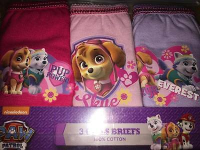 BNIP 3 Pack Girls Paw Patrol Pants Knickers Briefs Age 18-24 Months 100% Cotton