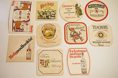 Collectable Vintage Retro Beer Coaster Scotland Scotch Whisky Man Cave Set of 10