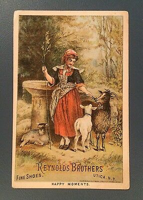 Victorian Trade Cards, Reynolds Bros Shoes, Utica, NY, Brown Bros, Morrison, Ill
