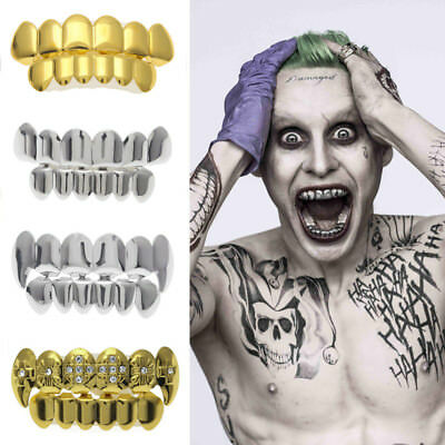 Suicide Squad Joker Gold Plated Hip Hop Teeth Grillz Caps Top & Bottom Grill Set