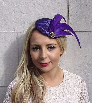 Purple Gold Feather Fascinator Pillbox Races Wedding Hat Headpiece Lace 3707
