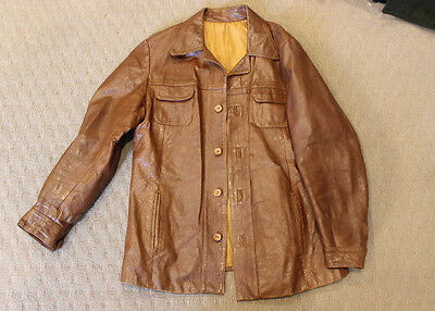 Mens Vintage 1970S Brown Tan Leather Jacket 'M' Medium Hipster Cool French Coat