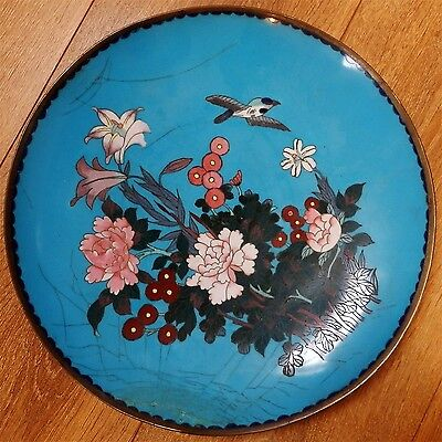 Antique Japanese Cloisonne on bronze charger
