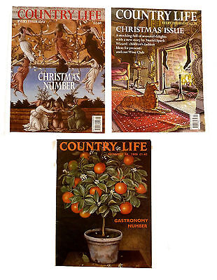 3 x Country Life Magazines 1989 - 1999 - 2000 includes 2 Christmas Issues
