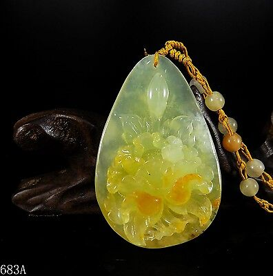 100% Natural Hand-carved Jade Pendant jadeite Necklace peony flower 683a