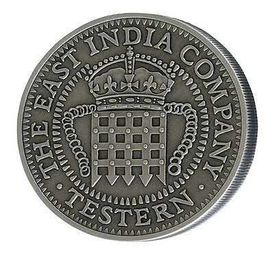2017 East India Company Testern Silver Coin Antique Finish St Helena Portcullis