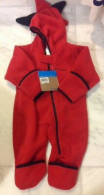 NWT Columbia Little D Boy / Girl Unisex Red 12 Month Fleece Bunting
