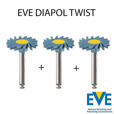 Lot x 3 Dental Eve Diapol Plus Twist RA ceramic polishing diamond NEW coarse
