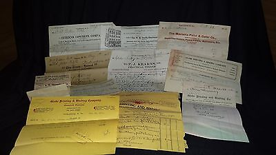 RETAIL STORE ADVERTISING Receipts Billheads Invoices dated 1912-1918..Lot of 14
