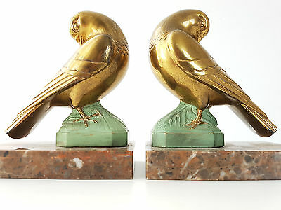 Pair Of Bookends Birds Pigeons Brass Golden Marble Metal 1950 Vintage 50's